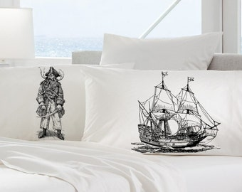 Two pillow cases PIRATE black beard and SHIP skull crossbones Nautical jack Ship's theme of the bones ocean steam punk Anchor pillowcase NEW