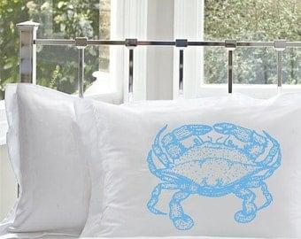 One (1) Standard White Nautical Pillowcase pillow case cover Light Blue Crab nautical home decor