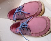 """Amusingly 80s new wave prep pastel two-tone pink and purple leather boat shoes. """"Cotton Traders,"""" men's 8 women's 10"""
