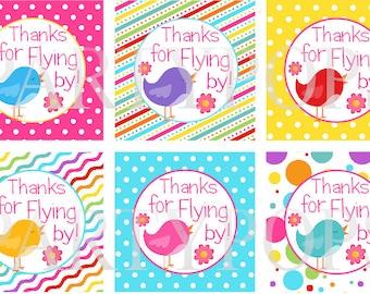 Digital Lillte Birdie Party Thank You Tag, Favor tag,  Birdie Birthday Party Decoration, Bird party,  PDF Printable INSTANT DOWNLOAD