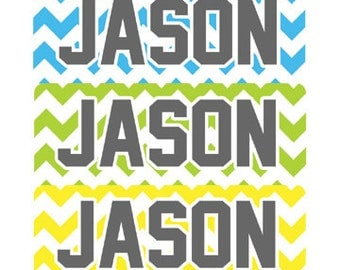 30 personalized waterproof labels name stickers chevron (No.N26) - laser printed for boy