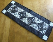 Black white biege neutral small table runner