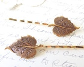Golden Leaf Hair Pin Set - Bobby Pin - Ox Brass- Woodland Collection - Whimsical - Nature - Bridal