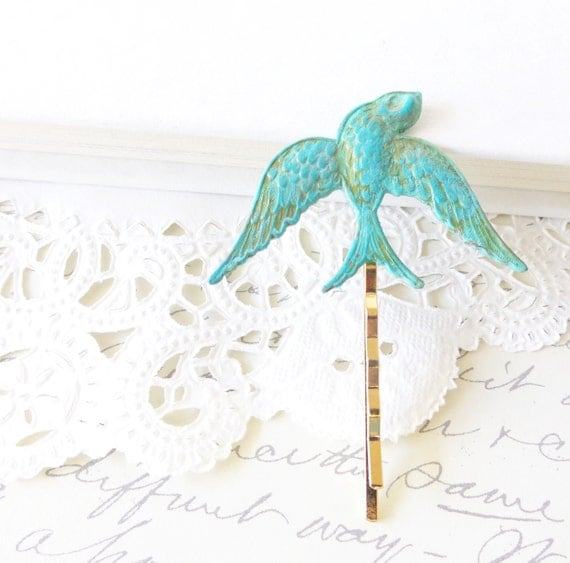 Verdigris Sparrow Bobby Pin - Hair Pin - Swallow - Woodland Collection - Patina
