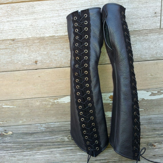 Long Distressed Black Leather & Suede Steampunk Fingerless Gloves w Antique Brass Eyelets