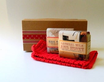 Bath Set / Soaps and Crocheted Washcloth Kit / Gift for her