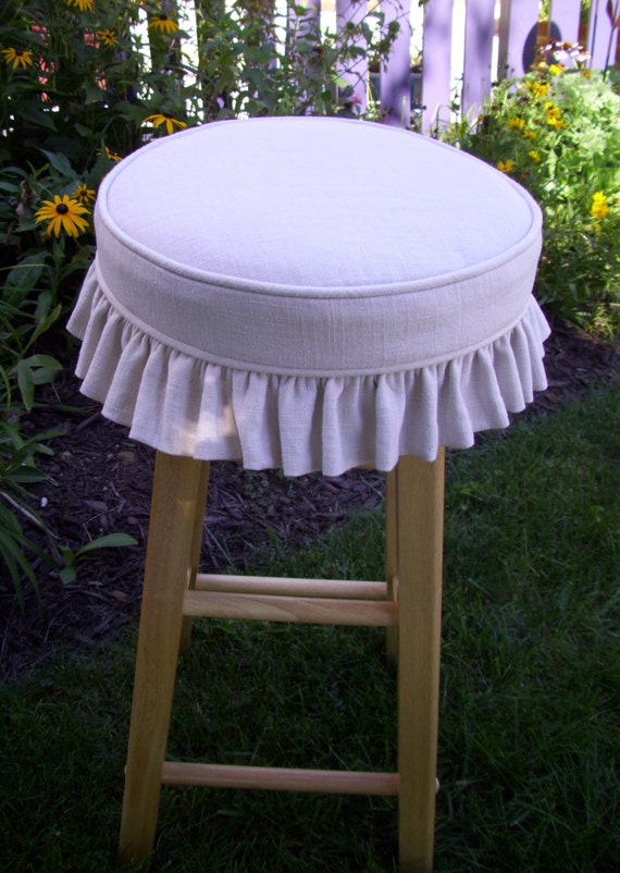 Linen Barstool Slipcover And Cushion Ruffled Skirt Bar Stool