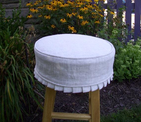 Barstool Slipcover And Cushion White Linen Washable Bar Stool