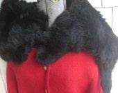 Vintage Black Fur Collar Wrap Stole Fox Face