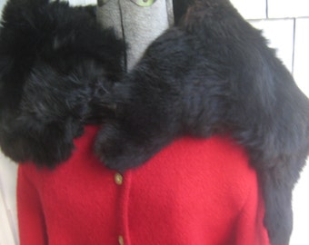 Vintage Black Fur Collar Wrap Stole Fox Face