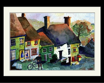 Framed - The Hill - Gold Hill, Shaftesbury Dorset England Watercolor Print