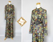 Vintage pant suit / 70s lounge suit /  KAY WINDSOR  / trouser suit / graphic print / pixels print / digital image print / rainy day / medium