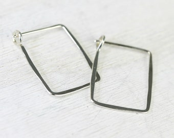 Ophelia handmade earrings - sterling silver small square earrings