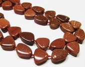 "8"" Gemstone STRAND - Goldstone Beads - Grooved Flat Pebbles - Sparkly Copper Brown (8"" strand - 10 beads) - str524"