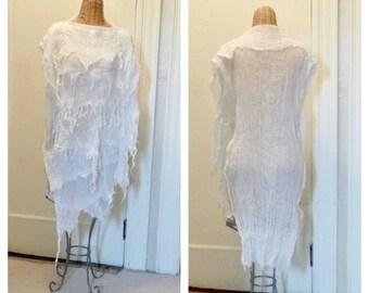 Banshee Caftan Dress LAST ONE Ghost Zombie Living Dead Cover Up Halloween Bone One Size Cotton Plus