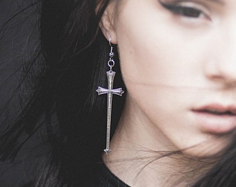 Gothic Earrings - Lionheart - Antiqued Sterling Silver Plated Medieval Cross Swords and Filigree Accented Ear Wires