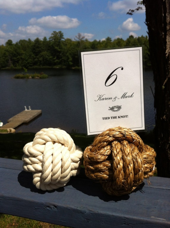 Nautical Wedding - 20 Nautical Rope Table Number Holders (4 inches) - smaller knots