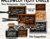 Halloween Treat Candy Label Digital Download Printable Tags DIY Vintage Style Image Clip Art Collage Sheet
