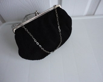 Vintage Gorgeous Black Faille Clutch Evening Purse