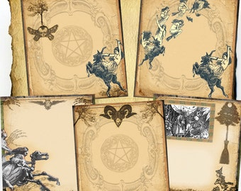 Sabbat Flight Witches Digital 5 Page Set - Book of Shadows, Grimoire, Scrapbook, Spells