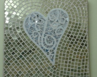 glass mosaic stained glass leadlight heart, gold, silver small art piece