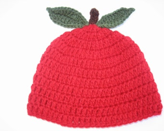 Crochet Candy Apple Red baby hat - Great for Photo props -Cool Summer Evenings