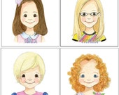 Kids Mini Cartoon Portrait - Custom Family Painting for Nicole