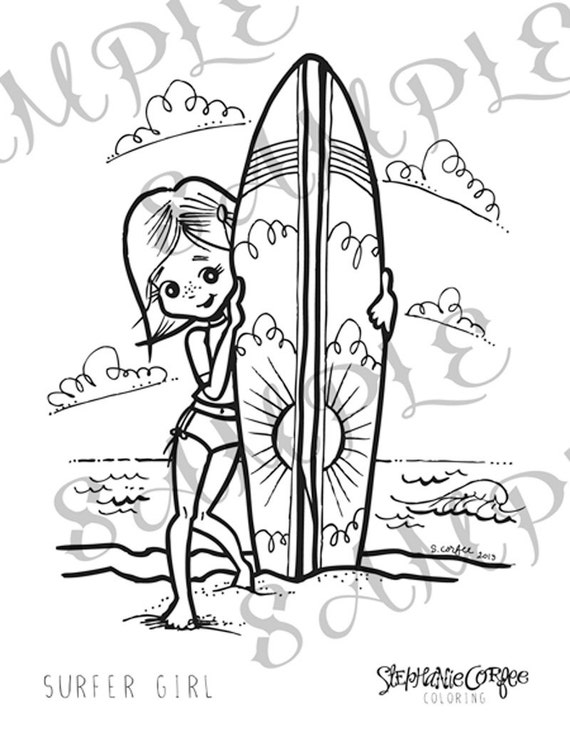 surfing girl coloring pages - photo#13