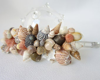 Seashell Barrette - Nautical Shell Barrette for Beach Weddings or Prom - Natural Colors or White