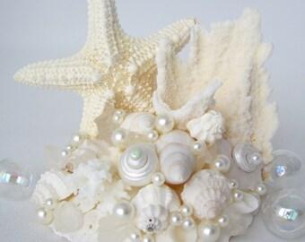 Beach Wedding Cake Topper, Nautical Wedding Cake Topper, Starfish Wedding Cake Topper, Sea Glass Wedding Cake Topper, Shell Cake Top - #CTJC