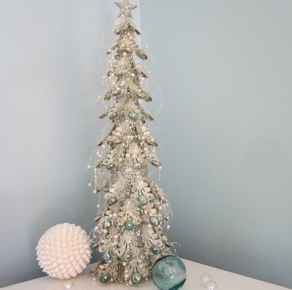 Beach Decor Christmas Tree W Limpet Shells & By