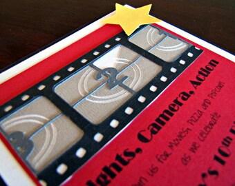 Movie Night Party Invitations, Movie Party Invitation, Old Hollywood Invitation, Birthday Invitation, Movie Invitation, Film Strip,Set of 12