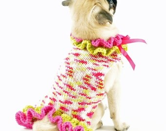 Pullover Knit Dog Sweater Dress in Hot Pink and Green