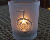 Reiki engraved Glass votive tea light Candle holder - Frosted or Clear 6 styles Reiki symbol, Cho Ku Rei, Sei He Ki, HSSSN, Dai Ku Myo or Om