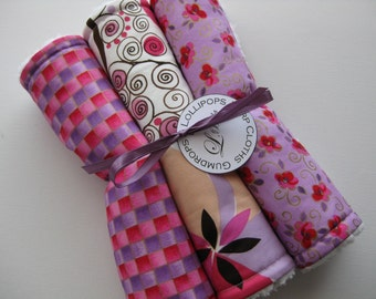 """Baby Burp Cloth Set of 3 """"Gumdrops and Lollipops"""" Valentine's Day Pink Purple Floral Polka Dot Girly Girl"""