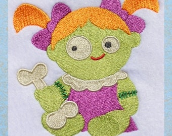Zombie Baby, INSTANT DOWNLOAD, Zombie Embroidery Design for Machine Embroidery 4x4