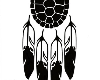 Turtle shell with 4 feathers decal