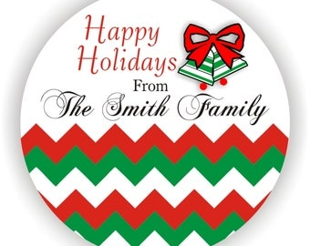 Christmas Labels - Personalized Address Labels - 40 labels - 2inch circle - Happy Holidays Labels - Christmas Gift Labels