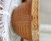 Vintage Crock Bowl Mixing Bowl Pottery Yellow Ware Brown Decorative Rustic 1950s