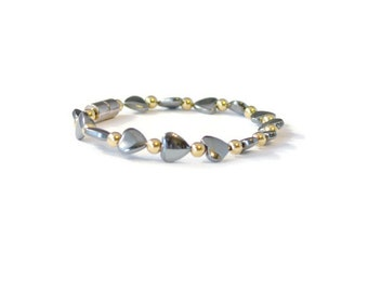 Black/Gold Magnetic Hematite Hearts Bracelet, Good Health Jewelry