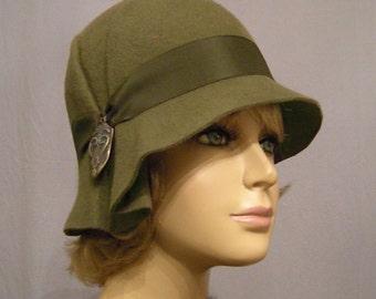 Amelia, Fur Felt Cloche millinery hat from the Downton Abbey era, khaki green color