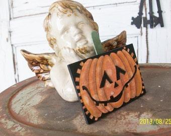 Jack-O-Lantern Lapel Pin   Hand Painted Lapel Pin   Halloween Pumpkin Pin