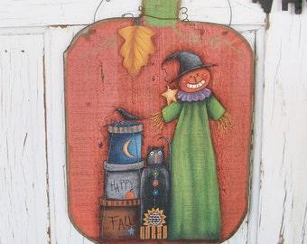 Fall Scarecrow Wall Decor   Handpainted Primitive Scarecrow Scene