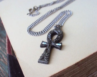 Cross Pendant necklace Pewter Marked Sisk