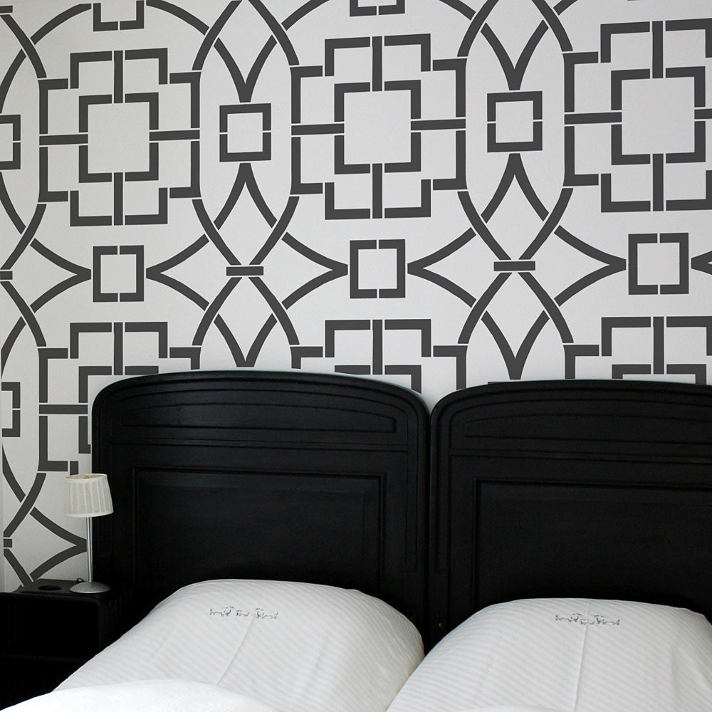 Bohemian Feather Wall Stencil Reusable Stencils For Home: Tea House Trellis Allover Stencil Better Then Wallpaper