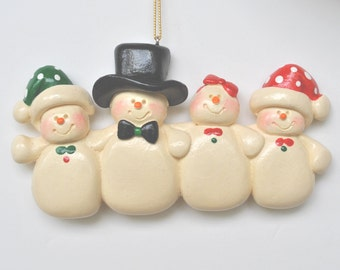 Personalized Snow Family of 4 Christmas Ornament