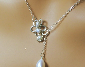 Pearl Necklace, Sterling Silver, Gifts  Bridesmaids, grandmother