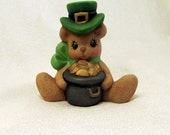 Ceramic Lucky St Patricks Day Bear with Pot of Gold