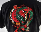 Martial Arts Tee Chinese Dragon Vintage Karate Tshirt Black Red Connecticut MA LARGE