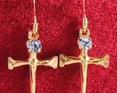 Handcrafted Brass Vintage Easter Cross Earrings with a Blue Swarovski crystal OOAK